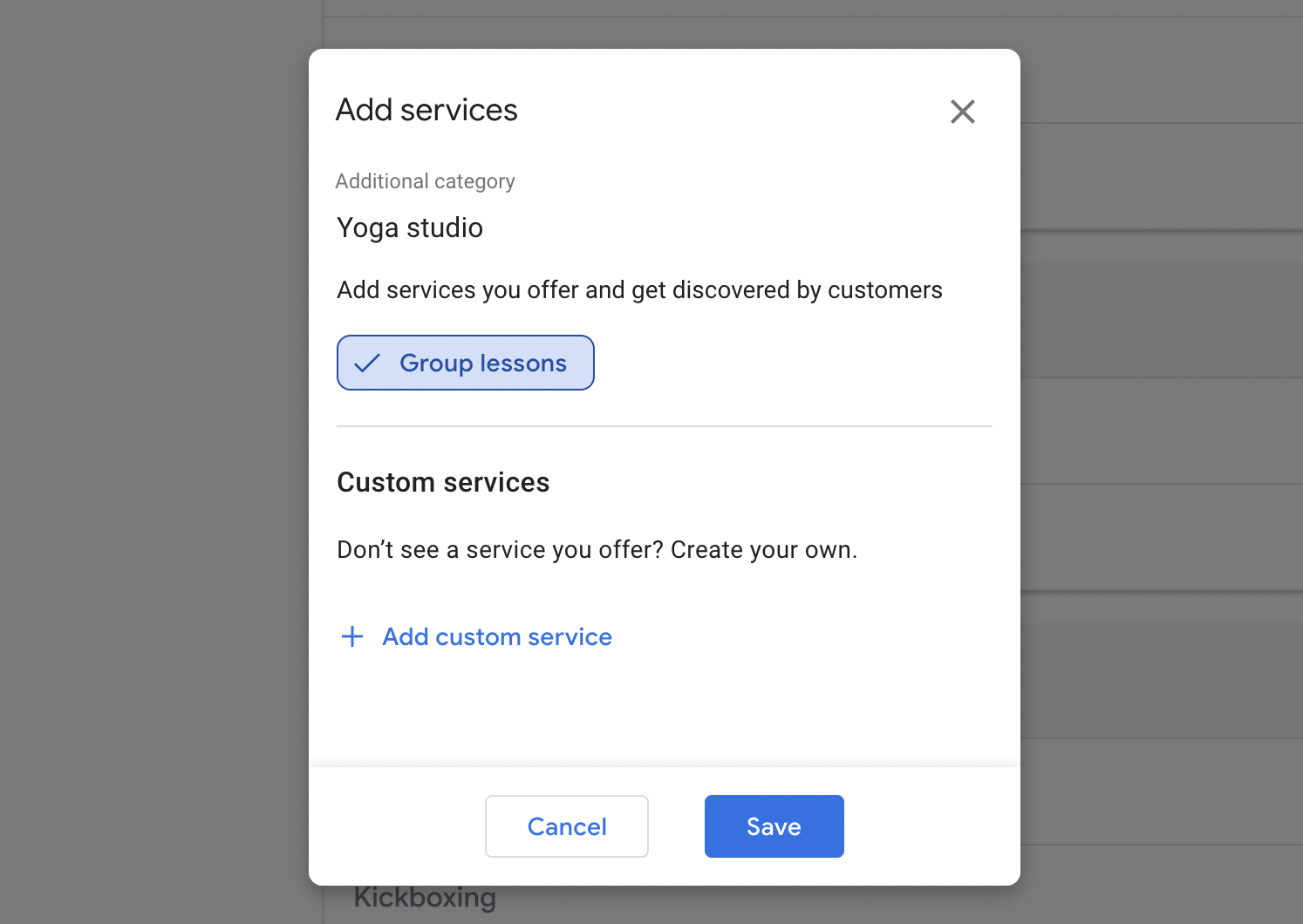 Google My Business add services