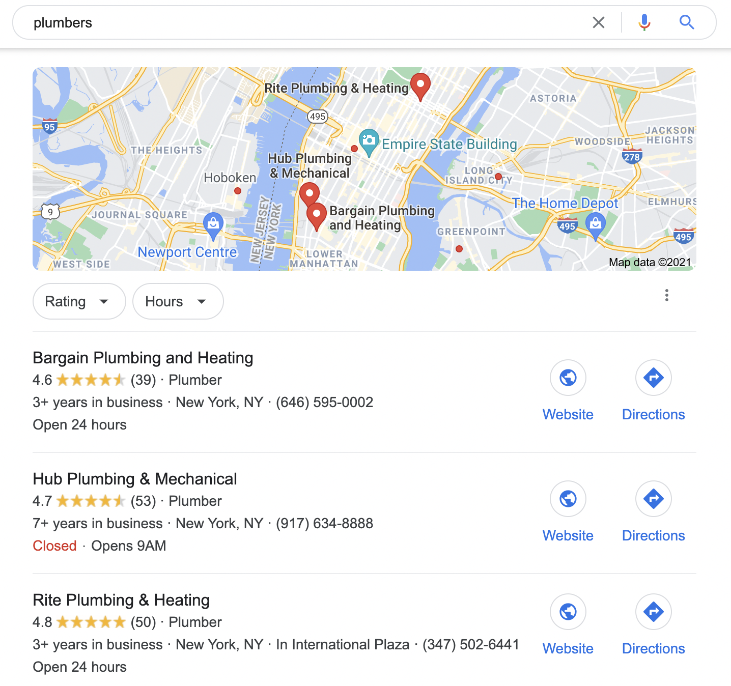 competitors on Google Maps