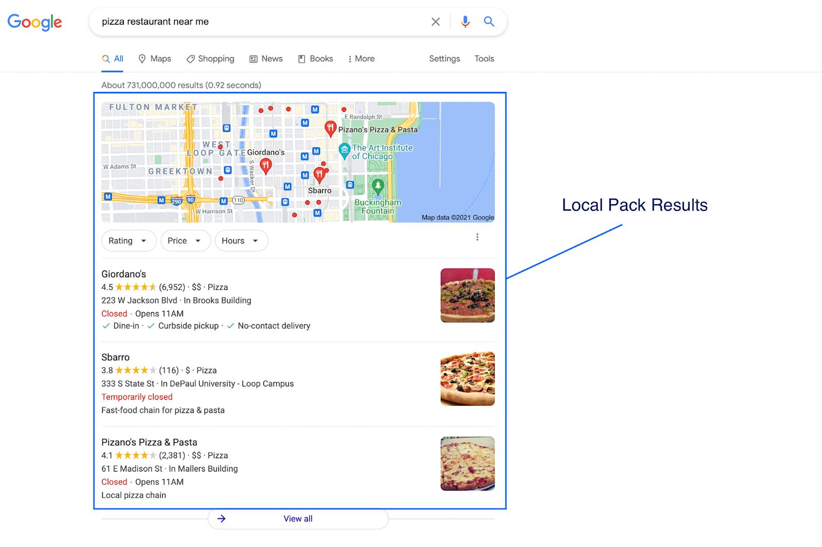 Local pack results screenshot