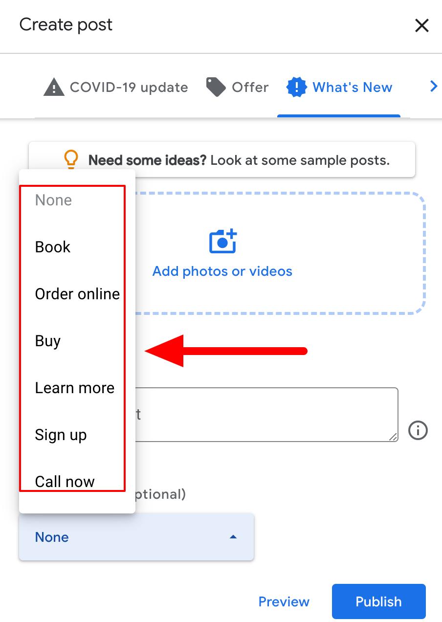 Google My Business post CTAs