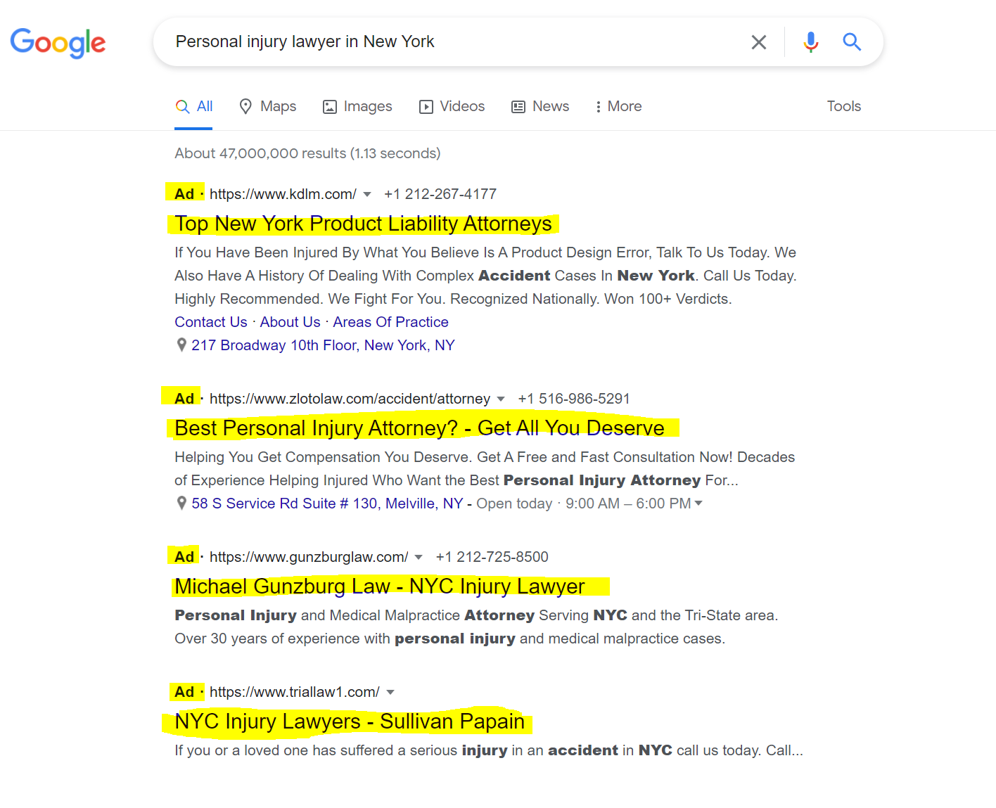 Google Ads in search
