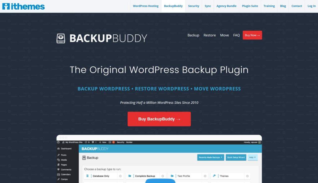 screenshot of backup buddy plugin