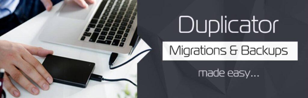 screenshot of duplicator backup plugin